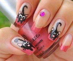 Imagenes de uñas decoradas con dibujos de gatos