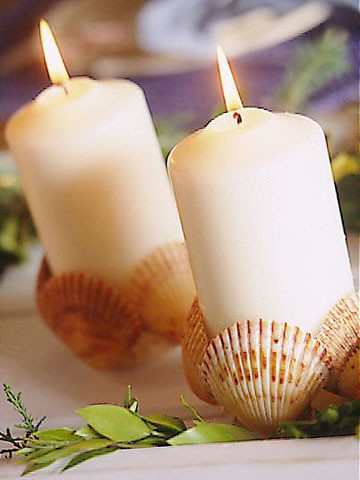 Velas decoradas con conchas de mar ideas consejos - Decoracion con velas ...